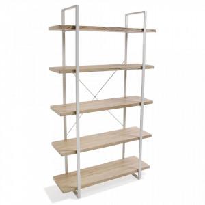 Etajera maro/alba din metal si lemn 179 cm Wooden Shelf Five Versa Home