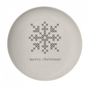 Farfurie alba din ceramica 25 cm Snowflake Bloomingville