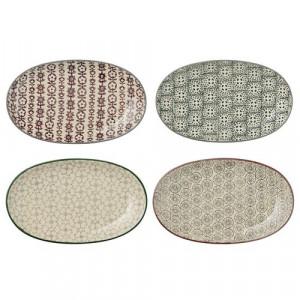 Farfurie ovala ceramica gri/gri inchis/verde/mov Karine Bloomingville