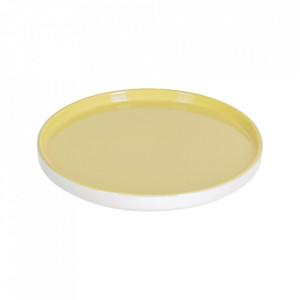 Farfurie pentru desert alba/galbena din portelan 21 cm Midori Kave Home