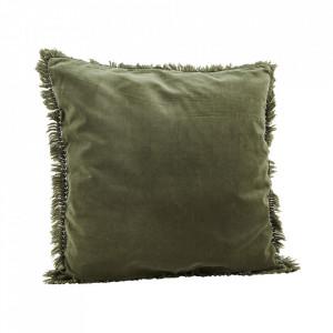 Fata de perna verde jad din catifea si in 50x50 cm Lumo Madam Stoltz