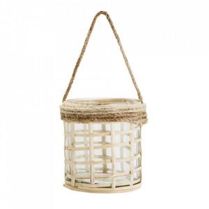 Felinar maro din sticla si lemn de bambus 8 cm Tom Madam Stoltz
