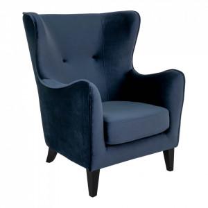 Fotoliu albastru/negru din poliester si lemn de fag Campo House Nordic