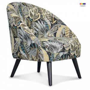 Fotoliu multicolor din lemn si textil Gabriel Leaf Opjet Paris