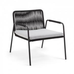 Fotoliu negru din sfoara si metal pentru exterior Seymour La Forma