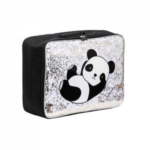 Geanta de voiaj alba/neagra din poliester Glitter Panda A Little Lovely Company