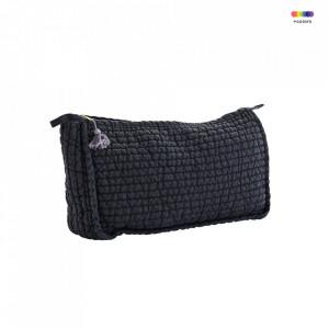 Geanta matlasata gri carbune/mov din in 20x30 cm pentru cosmetice Charcoal Toilet Bag Madam Stoltz