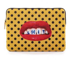 Geanta multicolora din poliester si poliuretan 25x34,5 cm pentru laptop Shit Toiletpaper Seletti