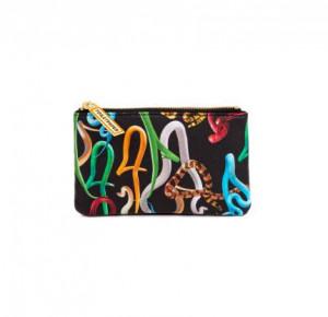 Geanta multicolora din poliester si poliuretan 9,5x15,5 cm pentru cosmetice Snakes Seletti