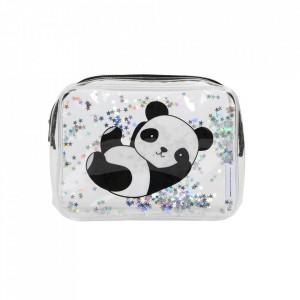 Geanta pentru cosmetice multicolora din PVC Glitter Panda A Little Lovely Company