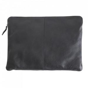 Geanta pentru laptop gri antracit din piele 28x38 cm Camel Raw Materials