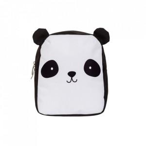 Ghiozdan alb/negru din poliester Panda A Little Lovely Company