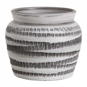Ghiveci alb/negru din ceramica 22 cm Cabos Ixia