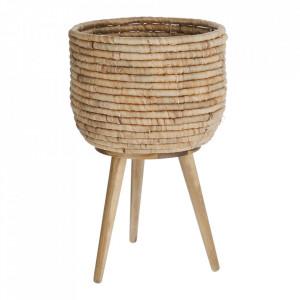 Ghiveci cu suport maro din fibre naturale si lemn 34 cm Colomba Kave Home