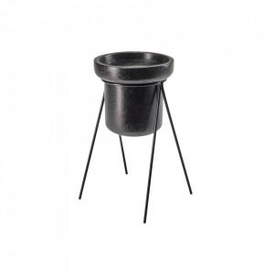 Ghiveci cu suport negru din terrazzo si otel 46 cm Henri Wide Bolia