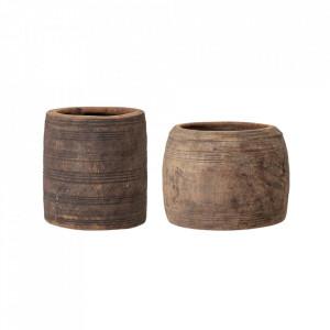 Ghiveci decorativ maro din lemn 20 cm Nature Creative Collection
