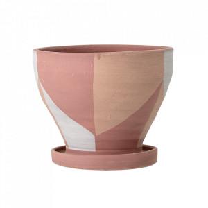 Ghiveci decorativ roz din teracota 15 cm Abonoa Creative Collection