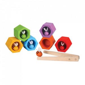Joc multicolor din lemn Bee Hive Plan Toys