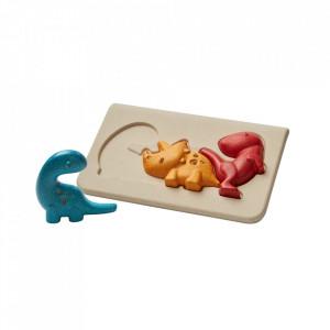 Joc tip puzzle multicolor din lemn Dino Plan Toys