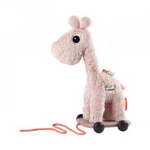 Jucarie de tras roz din bumbac si plastic Giraffe Done by Deer