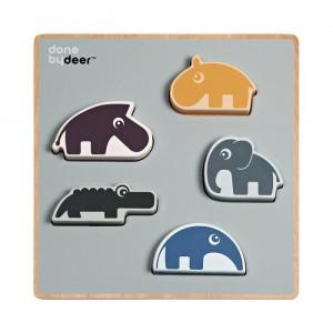 Jucarie tip puzzle multicolora din placaj si lemn Friends Done by Deer