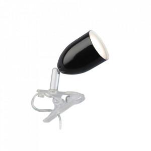 Lampa birou neagra din plastic si metal cu LED 11 cm Leo Brilliant