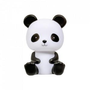Lampa de veghe alba/neagra din PVC cu LED 19 cm Panda A Little Lovely Company
