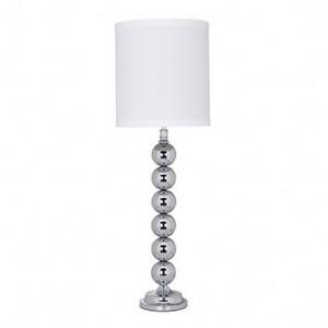 Lampadar argintiu/alb din fier si bumbac 91 cm Jill Richmond Interiors