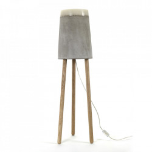 Lampadar gri din beton cu LED 100 cm Yvo Serax