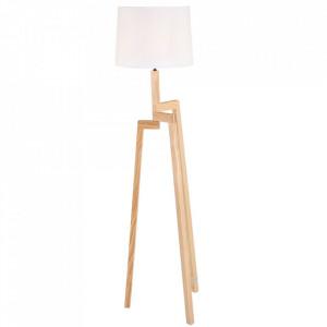 Lampadar maro/alb din lemn si textil 167 cm Bess Floor Steinhauer