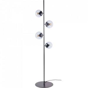 Lampadar negru/transparent din metal si sticla cu 4 becuri 161,5 cm Orb Floor Bolia