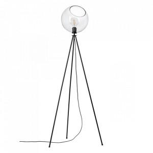 Lampadar transparent/negru din sticla si metal 150 cm Afton Brilliant