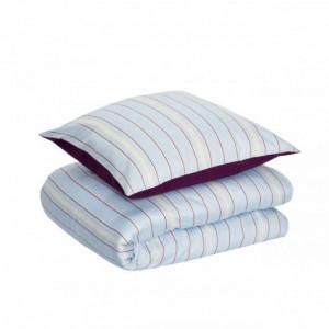 Lenjerie de pat albastra/rosie din bumbac 140x220/60x63 cm Prolly Hubsch