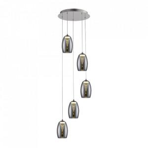 Lustra argintie/gri fum din sticla si metal cu 5 LED-uri Metropolis Brilliant