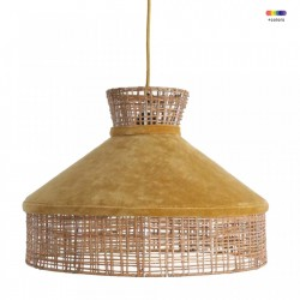 Lustra maro/galben din ratan si catifea Cilinder Yellow Large Raw Materials