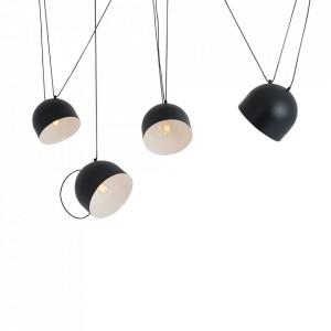 Lustra neagra din otel cu 4 becuri Popo L Custom Form