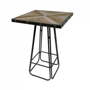 Masa bar negru/maro din fier si lemn de brad 70x70 cm Verona Santiago Pons