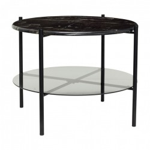 Masa cafea rotunda din marmura negra si sticla 65 cm Black Hubsch