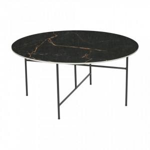 Masa cafea rotunda din portelan negru 80 cm Vida Woood