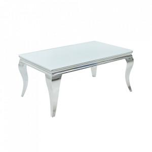 Masa de cafea alba/argintie din sticla si otel 60x100 cm Modern Barouque Invicta Interior