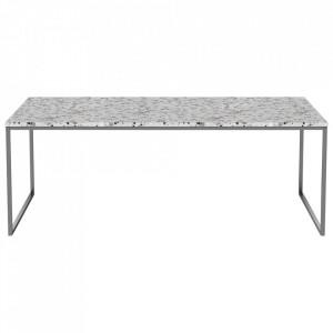 Masa de cafea alba/argintie din terrazzo si inox 60x120 cm Como Bolia