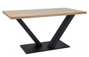 Masa din lemn de stejar si metal 90x180 cm Vector Okleina Signal Meble
