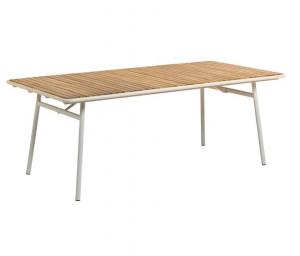 Masa dining alba/maro din lemn de salcam si otel pentru exterior 90x160 cm Robyn La Forma