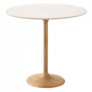 Masa dining aurie/alba din marmura si aluminiu 92 cm Havra Denzzo
