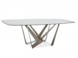 Masa dining crem din metal si sticla  105x220 cm Manhattan Signal Meble