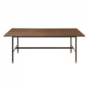 Masa dining din PAL si otel 95x200 cm Jugend Walnut Woodman