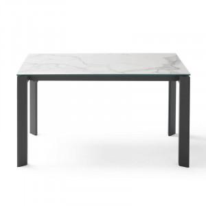 Masa dining extensibila din otel si ceramica 90x(140)200 cm Lisa White Kalos Somcasa
