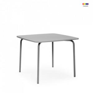 Masa dining gri din placi laminate si otel 90x90 cm My Table Normann Copenhagen
