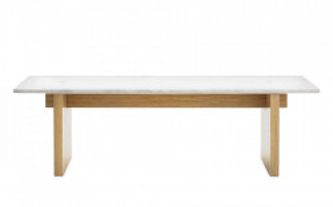 Masa dining maro/alba din lemn si marmura 38,5x130 cm Solid Normann Copenhagen