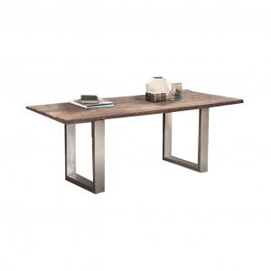 Masa dining maro/argintie din lemn si fier 90x180 cm Benjamin Giner y Colomer